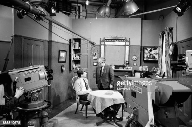 The cast of 'Coronation Street' on set Bill Roache and Jack Howarth 16th April 1968