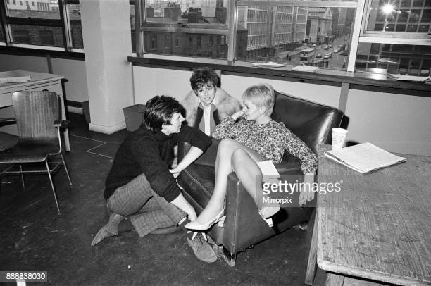 The cast of 'Coronation Street' on set. Mitzi Rogers and Philip Lowrie in the rehearsal room with Anne Leslie, 16th April 1968.
