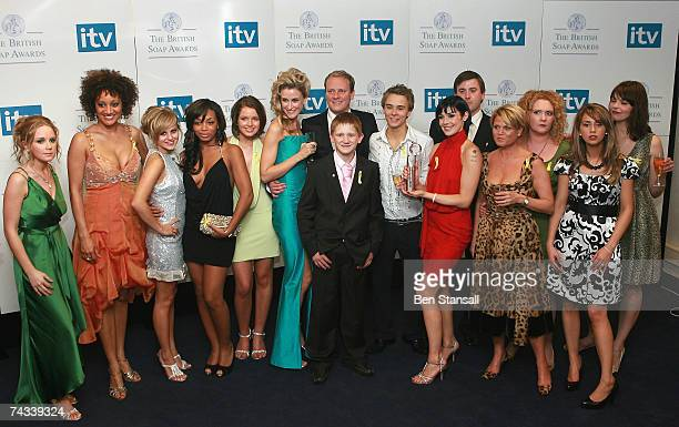 The cast of Coronation Street pose backstage after winning best soap at the British Soap Awards 2007 at the BBC Television Centre on May 26 2007 in...