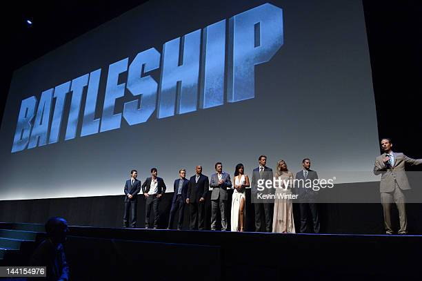 The cast of crew attend the premiere of Universal Pictures' Battleship at Nokia Theatre LA Live on May 10 2012 in Los Angeles California