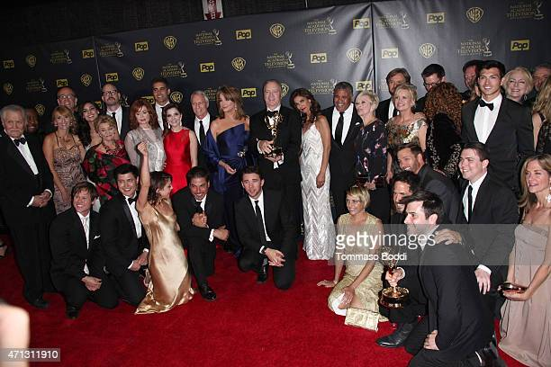 The cast of 'Days of Our Lives' pose in the Press Room during the 42nd Annual Daytime Emmy Awards at Warner Bros Studios on April 26 2015 in Burbank...