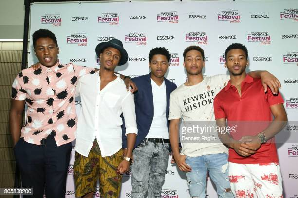 The cast of 'Detroit' Joseph DavidJones Ephraim Sykes Nathan Davis Jr Jacob Latimore and Algee Smith pose for a picture backstage during the 2017...