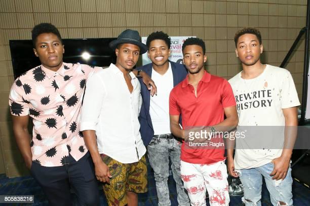 The cast of 'Detroit' Joseph DavidJones Ephraim Sykes Nathan Davis Jr Algee Smith Jacob Latimore pose for a picture backstage during the 2017 Essence...