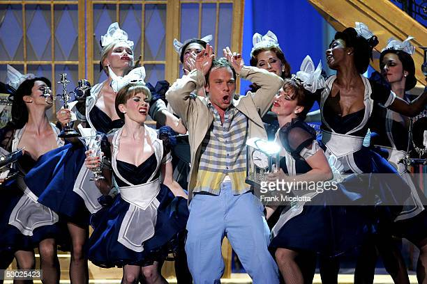 The cast of Dirty Rotten Scoundrels performs at the 59th Annual Tony Awards at Radio City Music Hall June 5 2005 in New York City