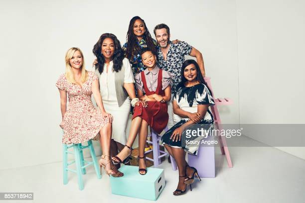 The cast of Disney's 'A Wrinkle in Time' Reese Witherspoon Oprah Winfrey Ava DuVernay Storm Reid Chris Pine and Mindy Kaling are photographed for...