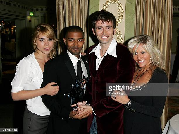 The cast of Doctor Who Billie Piper Noel Clarke David Tennant and Camille Coduri pose with the award for Best Loved Drama at the TV Quick and TV...