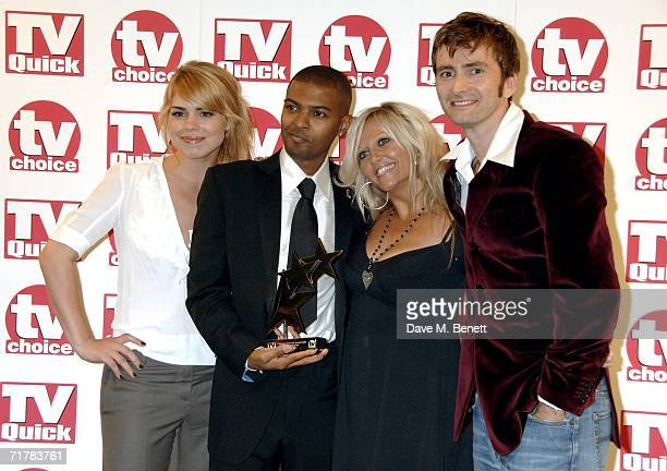 The Cast of Doctor Who including Billie Piper Noel Clarke Camille Coduri and David Tennant pose with the award for Best Loved Drama Series at the TV...