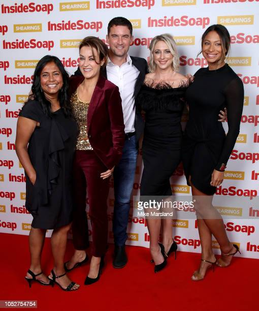 The cast of Doctors Bharti Patel Elisabeth Dermot Walsh Matthew Chambers Ali Bastian and Laura Rollins attend the Inside Soap Awards held at 100...