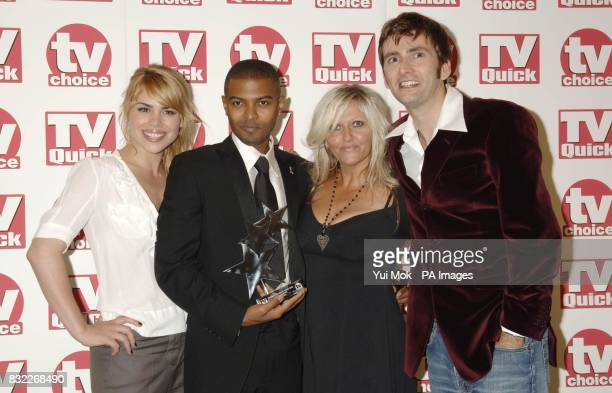 The cast of Dr Who Billie Piper Noel Clarke Camille Coduri and David Tennant collect the Best Loved Drama at the TV Quick and TV Choice Awards at the...