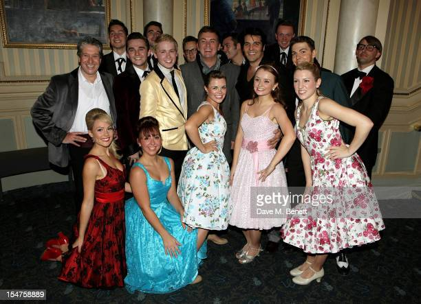 The cast of Dreamboats and Petticoats' poses in the foyer following the press night performance of 'Dreamboats and Petticoats' after moving to...