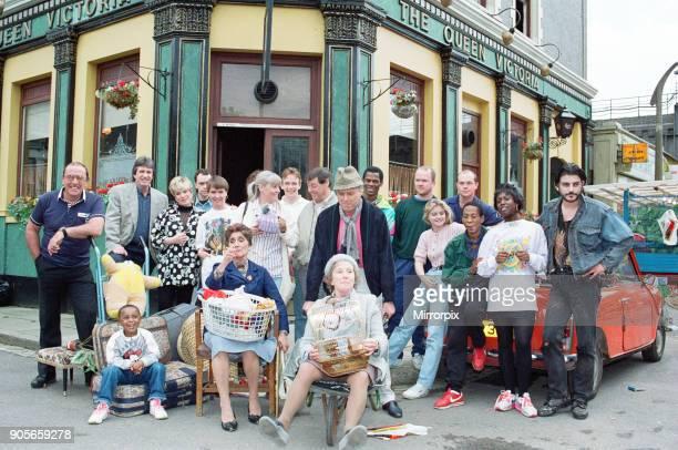 The cast of EastEnders on set Picture includes Mike Reid June Brown John Altman Letitia Dean Peter Dean Daniella Westbrook Ross Kemp Steve McFadden...