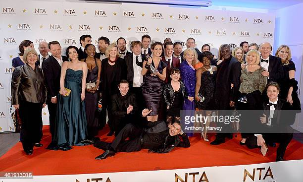 The cast of Eastenders pose in the winners room with the award for Best Serial Drama at the National Television Awards at 02 Arena on January 21 2015...