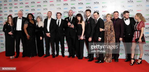 The cast of Emmerdale with their Serial Drama award during the National Television Awards 2018 at the O2 Arena on January 23 2018 in London England