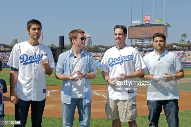 The cast of Entourage Adrian Grenier Kevin Connolly Kevin Dillon and Jerry Ferrara attend a game between the New York Yankees and the Los Angeles...