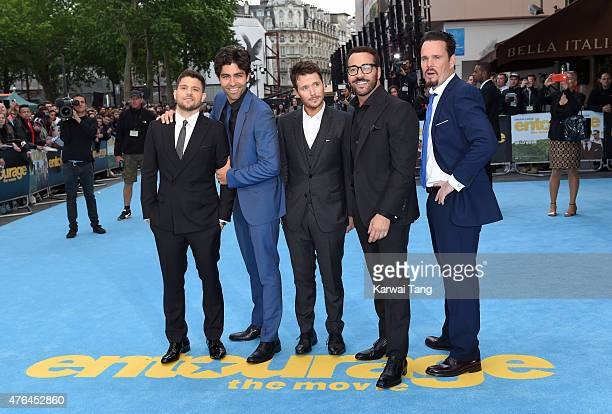 The cast of Entourage Jerry Ferrara Adrian Grenier Kevin Connolly Jeremy Piven and Kevin Dillon attend the European Premiere of Entourage at Vue West...