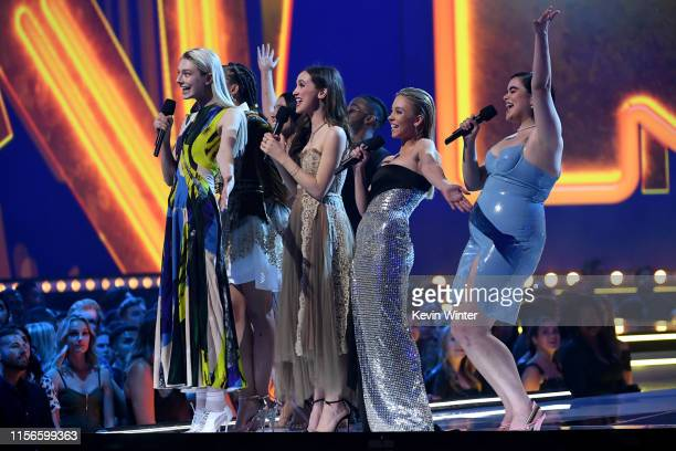 The cast of 'Euphoria' speak onstage during the 2019 MTV Movie and TV Awards at Barker Hangar on June 15 2019 in Santa Monica California