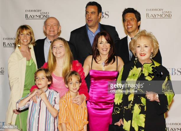 The cast of Everybody Loves Raymond gathers together in Los Angeles for the series wrap party From left to right Monica Horan Peter Boyle Brad...