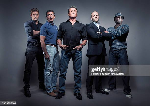 The cast of Expendables 3 from left to right Kellan Lutz Antonio Banderas Sylvester Stallone Jason Staham Wesley Snipes are photographed for Paris...