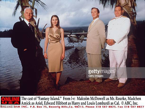 The Cast Of Fantasy Island From LR Malcolm Mcdowell As Mr Rourke Madchen Amick As Ariel Edward Hibbert As Harry And Louis Lombardi As Cal