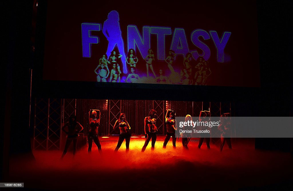 The cast of FANTASY performs during their calendar launch at the Luxor Hotel and Casino on October 22, 2013 in Las Vegas, Nevada.