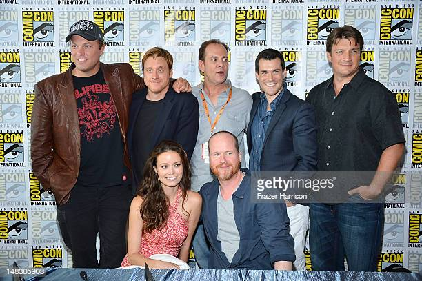 The Cast of Firefly Adam Baldwin Alan Tudyk Tim Minear Sean Maher Nathan Fillion Summer Glau and Joss Whedon at the 'Firefly' 10 Year Anniversary...