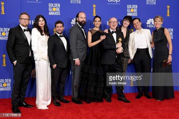 The cast of Fleabag pose in the press room with the award for Best Television Series Musical or Comedy during the 77th Annual Golden Globe Awards at...