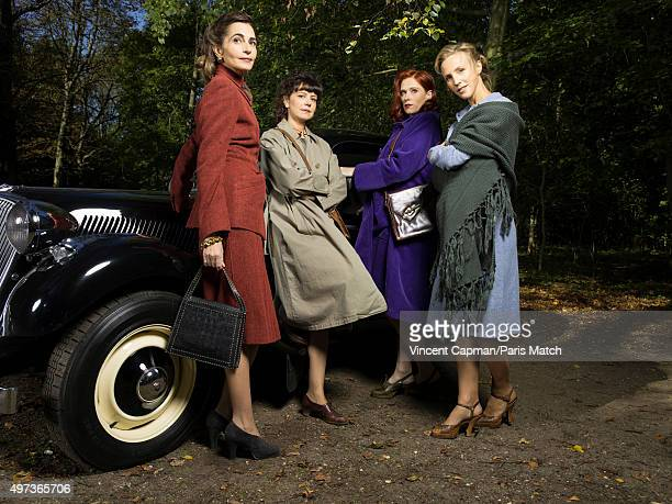 The cast of french tv series set during the Nazis occupation of France Un Village Francais are photographed for Paris Match on September 28 2015 in...