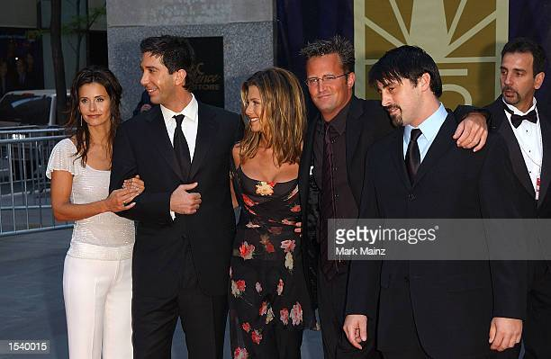 The cast of Friends Courteney Cox Arquette David Schwimmer Jennifer Aniston Matthew Perry and Matt LeBlanc arrive for NBC's 75th Anniversary Special...