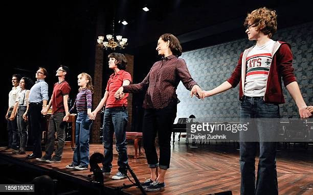 The cast of Fun Home perform during the opening night celebration of Fun Home at The Public Theater on October 22 2013 in New York City