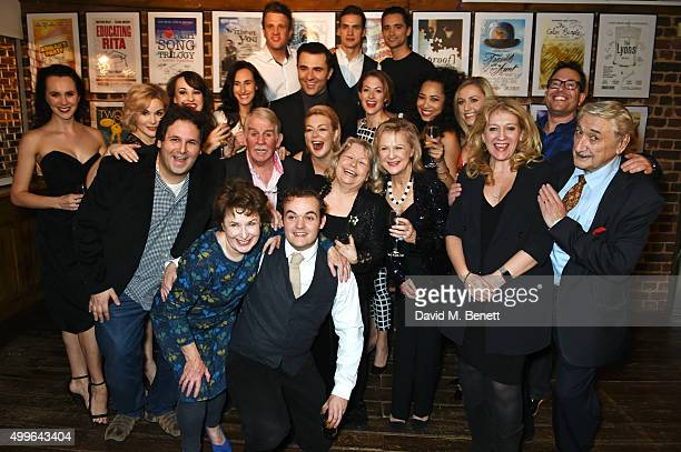 The cast of Funny Girl including Sheridan Smith and Darius Campbell pose with producers David Babani and Sonia Friedman at the press night after...