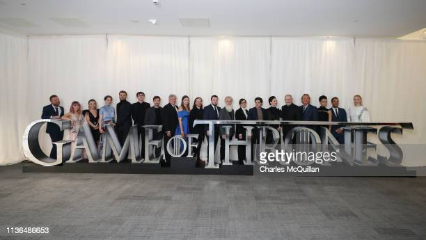 The cast of Game of Thrones attend the Game of Thrones Season 8 premiere screening at Waterfront Hall on April 12 2019 in Belfast Northern Ireland...