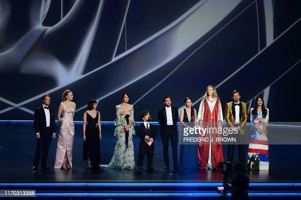 """The cast of """"Game of Thrones"""" speaks onstage during the 71st Emmy Awards at the Microsoft Theatre in Los Angeles on September 22, 2019."""