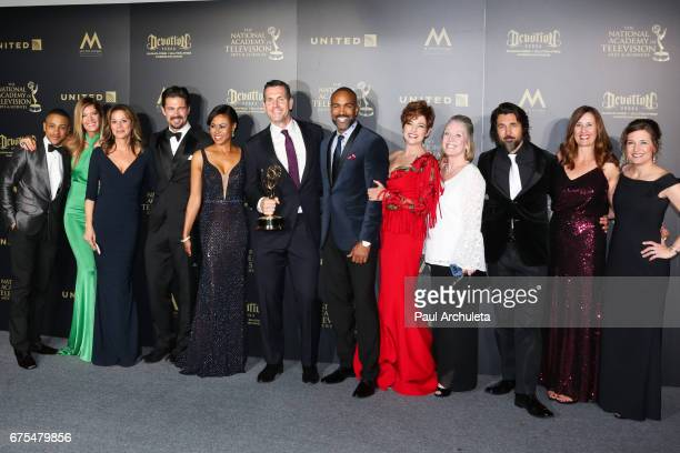 The cast of 'General Hospital' attend the press room for the 44th annual Daytime Emmy Awards at Pasadena Civic Auditorium on April 30 2017 in...