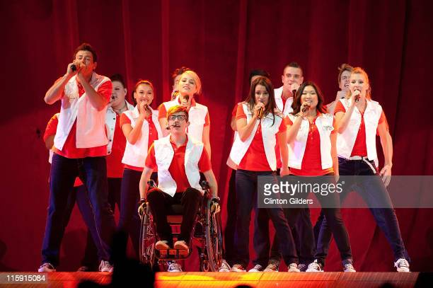 The cast of Glee performs onstage during the 2011 GLEE Live Concert Tour at the Air Canada Centre on June 11 2011 in Toronto Canada