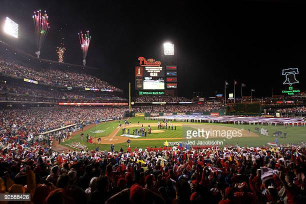 The cast of Glee performs the National Anthem before Game Three of the 2009 MLB World Series at Citizens Bank Park on October 31 2009 in Philadelphia...