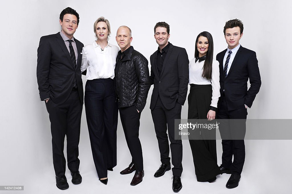 STUDIOS -- 'The Cast of Glee' -- Pictured: (l-r) Cory Monteith, Jane Lynch, creator Ryan Murphy, Matthew Morrison, Lea Michele, Chris Colfer --