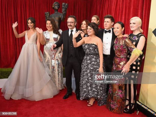 The cast of GLOW attends the 24th Annual Screen Actors Guild Awards at The Shrine Auditorium on January 21 2018 in Los Angeles California