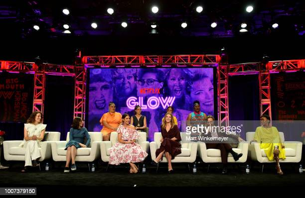 The cast of 'GLOW' speaks onstage during Netflix TCA 2018 at The Beverly Hilton Hotel on July 29 2018 in Beverly Hills California