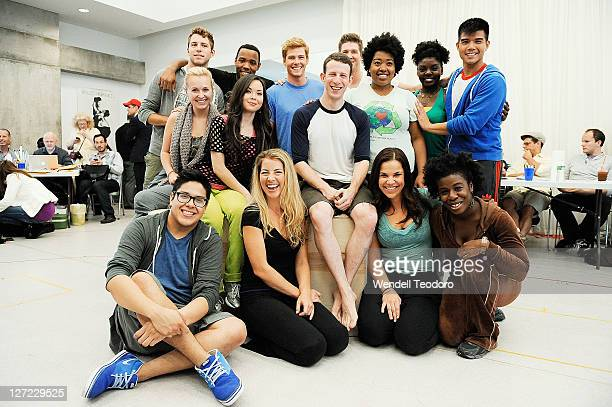 The cast of Godspell attends the Godspell Broadway rehearsal at the Ballet Hispanico Rehearsal Studios on September 26 2011 in New York City