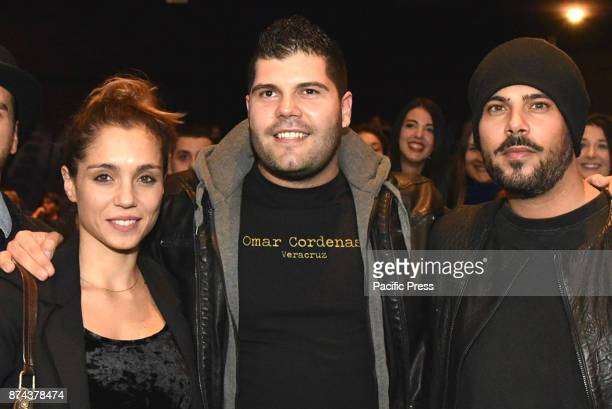 CINEMA NAPOLI ITALIA ITALY The cast of Gomorra 3 from left in the picture Cristiana Dell'Anna Salvatore Esposito and Marco D'Amore during the...