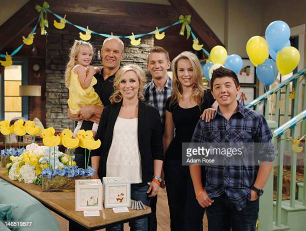 CHARLIE The cast of Good Luck Charlie Bridgit Mendler Jason Dolley LeighAllyn Baker Bradley Steven Perry Mia Talerico and Eric Allan Kramer celebrate...