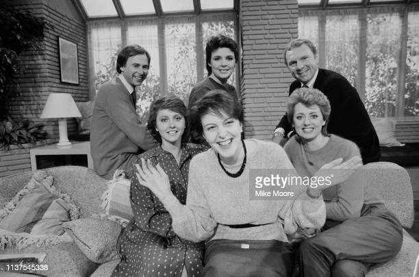 The cast of Good Morning Britain, UK, 17th November 1983; including singer Dana, soccer player Bobby Moore, and television presenters Wincey Willis,...