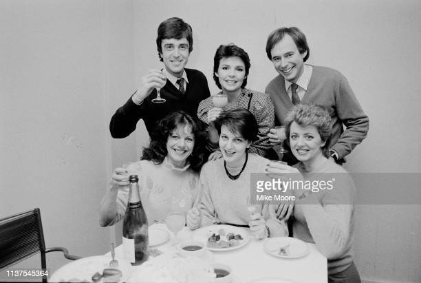 The cast of Good Morning Britain, UK, 17th November 1983; including singer Dana and television presenters Wincey Willis, Lizzie Webb, Nick Owen, John...