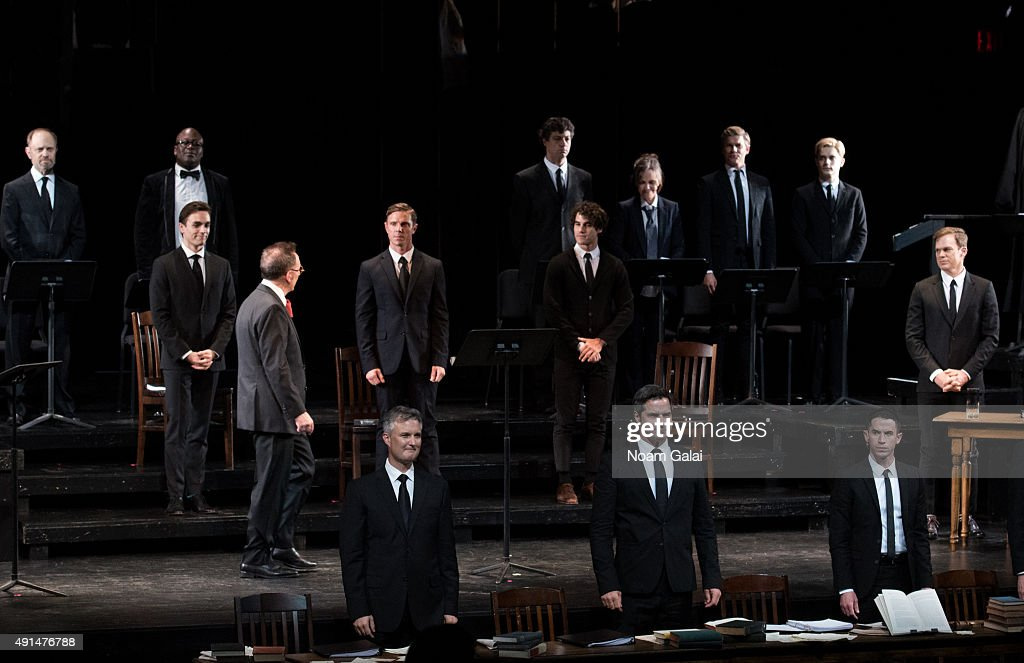 The cast of 'Gross Indecency: The Three Trials Of Oscar Wilde' perform onstage during at Gerald W. Lynch Theatre on October 5, 2015 in New York City.
