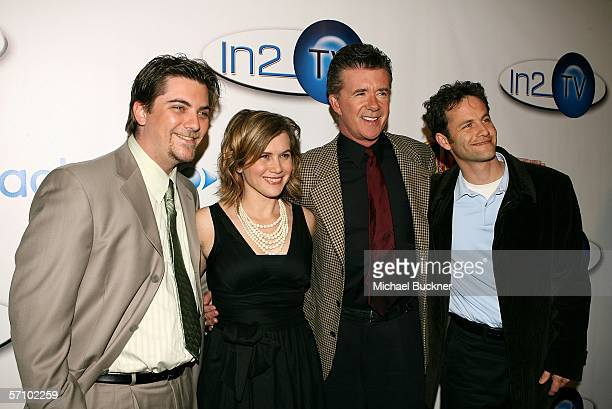 The cast of Growing Pains Jeremy Miller Tracey Gold Alan Thicke and Kirk Cameron arrives at the AOL and Warner Bros Launch of In2TV at the Museum of...