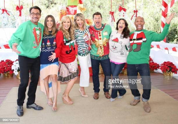 The cast of Hallmark's 'Home Family' celebrating 'Christmas In July' with an ugly sweater contest at Universal Studios Hollywood on July 11 2018 in...