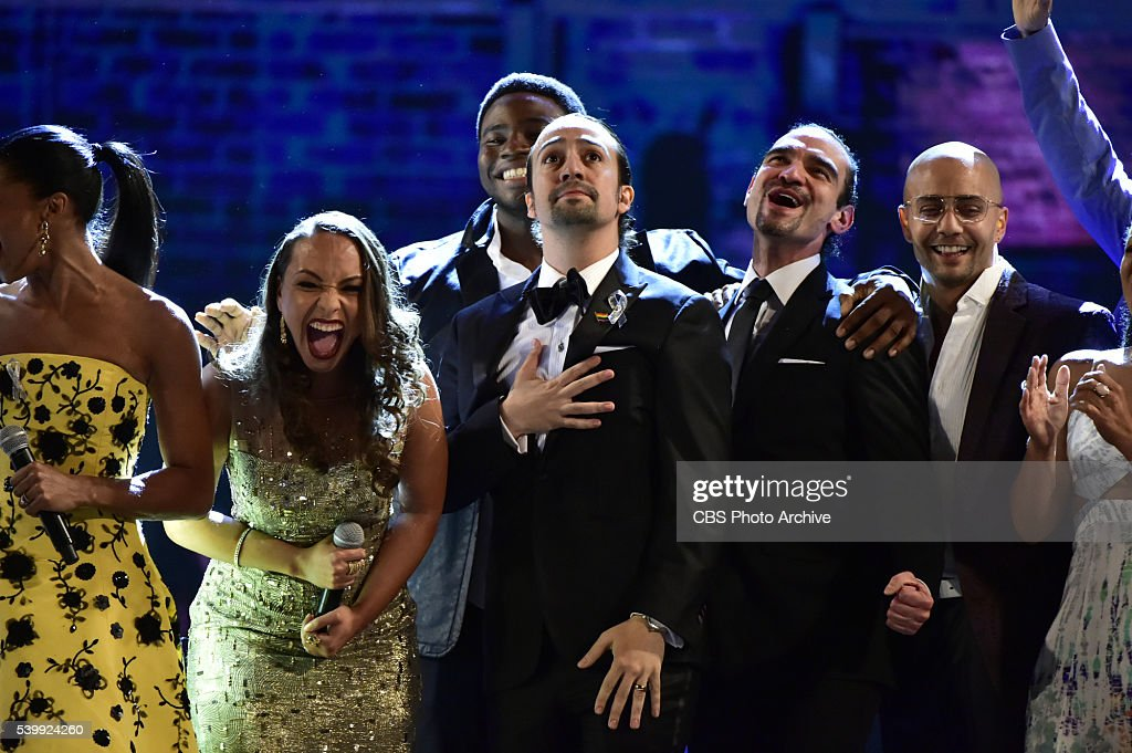 The cast of Hamilton at THE 70TH ANNUAL TONY AWARDS, live from the Beacon Theatre in New York City, Sunday, June 12 (8:00-11:00 PM, live ET/ delayed PT) on the CBS Television Network.