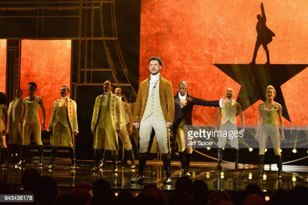 The cast of Hamilton perform on stage during The Olivier Awards with Mastercard at Royal Albert Hall on April 8 2018 in London England