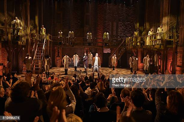 """The cast of """"Hamilton"""" performs on stage during """"Hamilton"""" GRAMMY performance for The 58th GRAMMY Awards at Richard Rodgers Theater on February 15,..."""