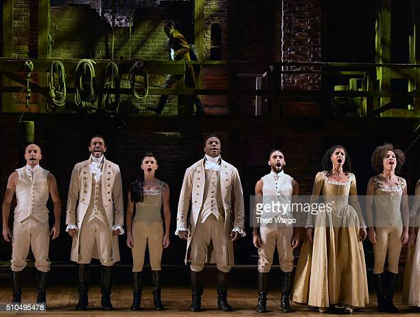 The cast of 'Hamilton' performs on stage during 'Hamilton' GRAMMY performance for The 58th GRAMMY Awards at Richard Rodgers Theater on February 15...